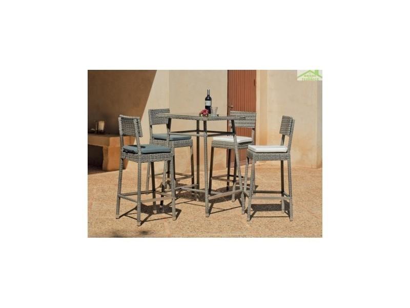 Table haute de jardin carrée 75x75 cm + 4 tabourets hauts avec ...