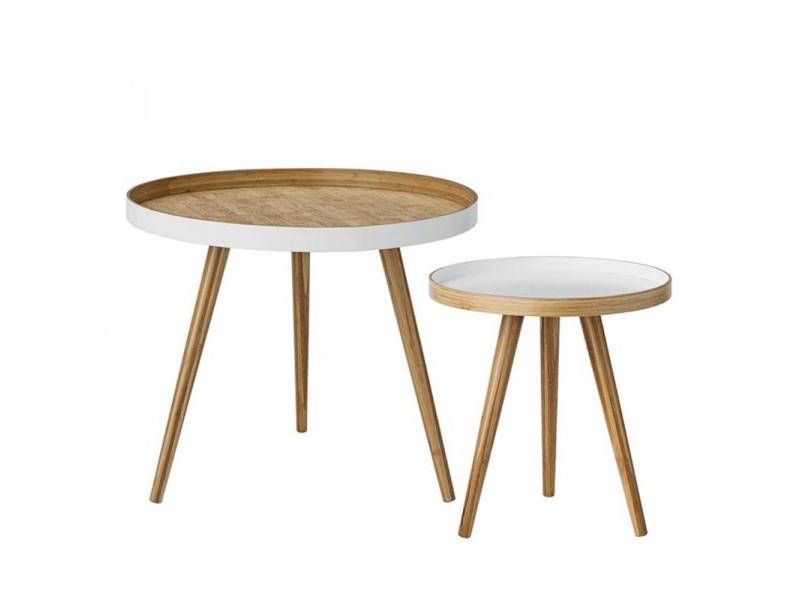 Set 2 tables d'appoint en bois cappuccino bloomingville - couleur - bambou 89200007