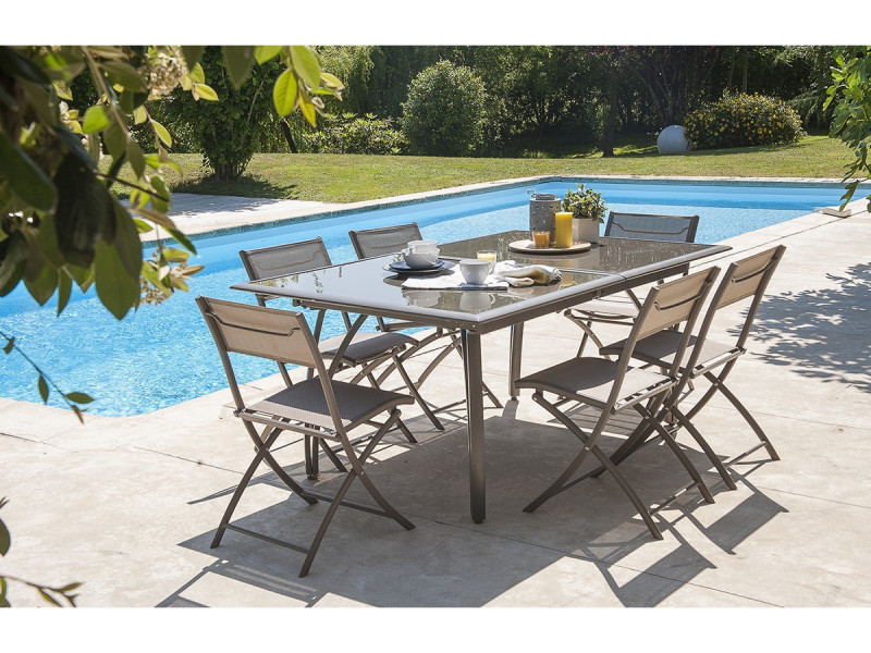 Salon de jardin table et 6 chaises cappuccino conforama for Table 6 chaises conforama