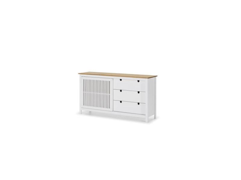 Valentina buffet bas 1 porte 3 tiroirs - décor chene et blanc - l 150 x p 40 x h 80 cm VALENTINA13167