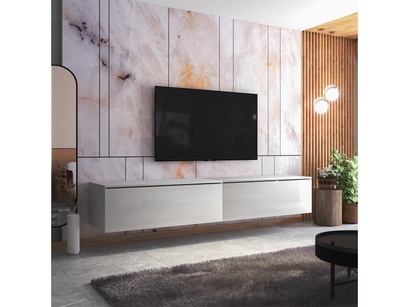 Meuble tv - skylara - 200 cm - blanc mat / blanc brillant
