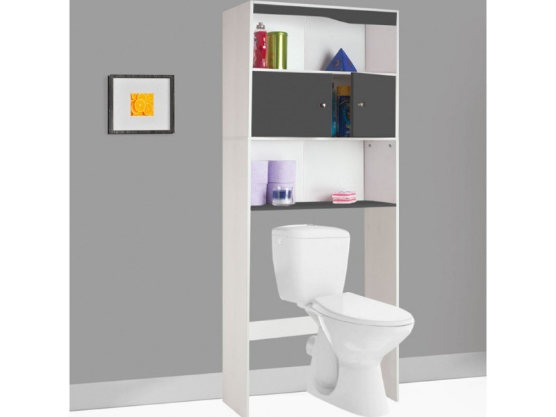 meuble tag re dessus wc bois coloris gris vente de id market conforama. Black Bedroom Furniture Sets. Home Design Ideas