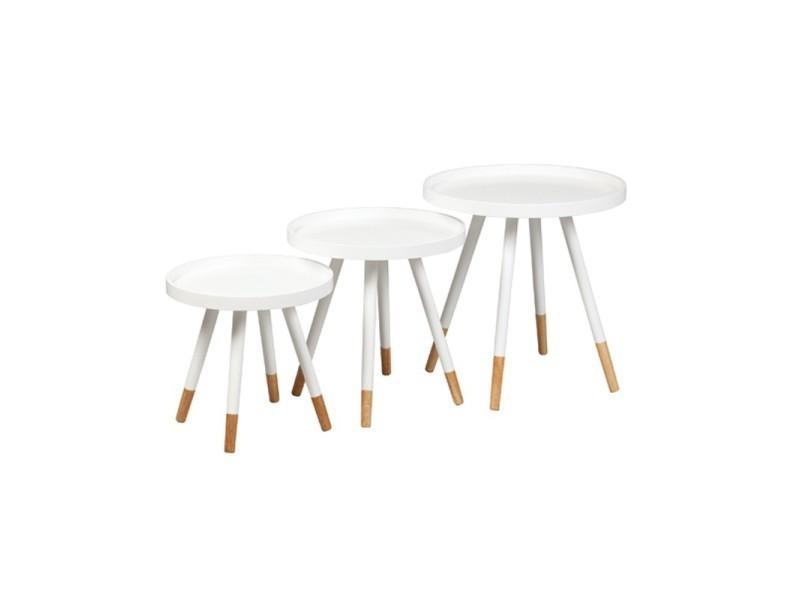 Tables gigognes laque blanche - clop - l 46 x l 46 x h 48 - neuf