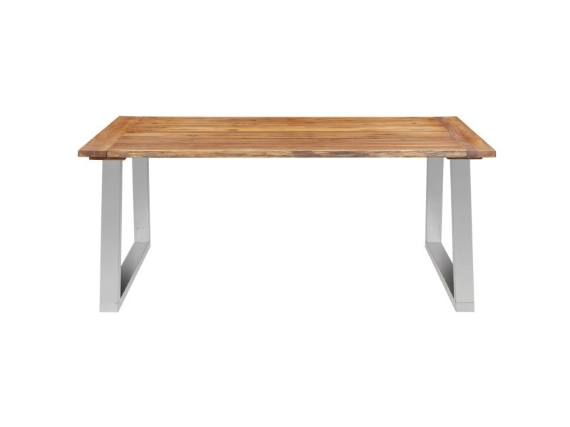 Vidaxl table à dîner 180x90x75 cm bois d'acacia et acier inoxydable 283890