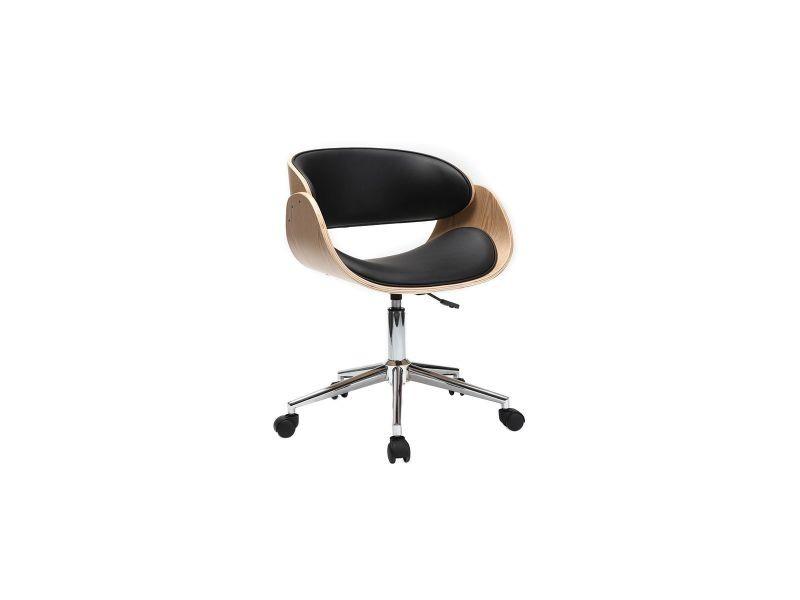 Chaise De Bureau A Roulettes Noir Et Bois Clair Bent
