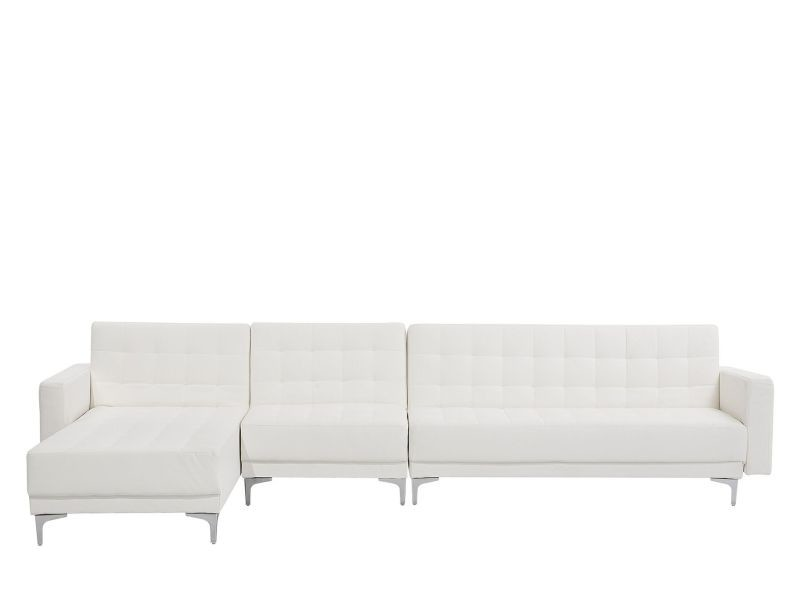 Canapé angle droite convertible simili-cuir blanc 5 places aberdeen 150484