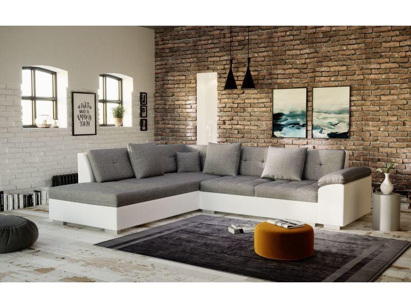 Canapé d'angle tanos gris et blanc design