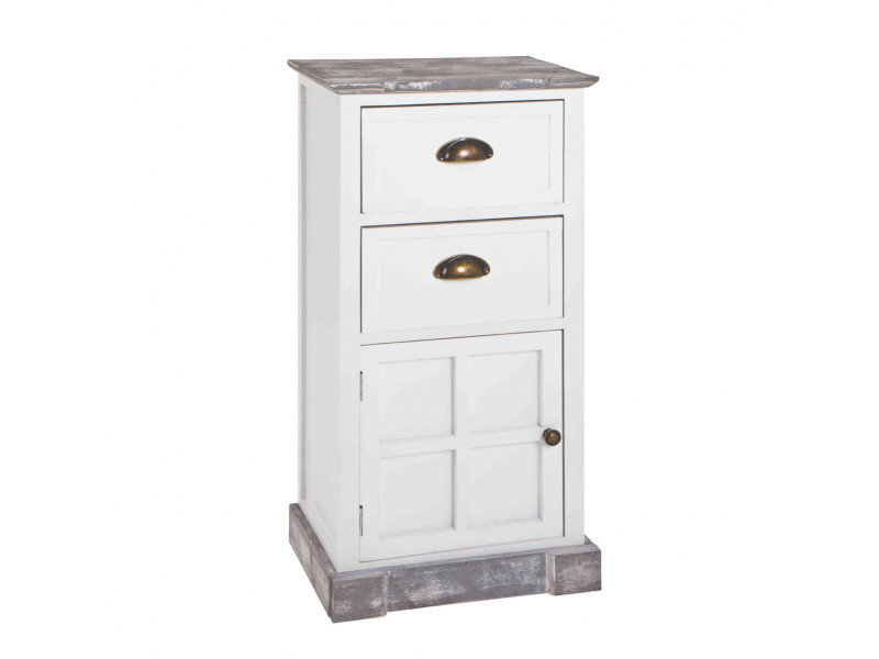 Commode 2 tiroirs 1 porte en bois massif blanc laqué et gris blanchi - co15010