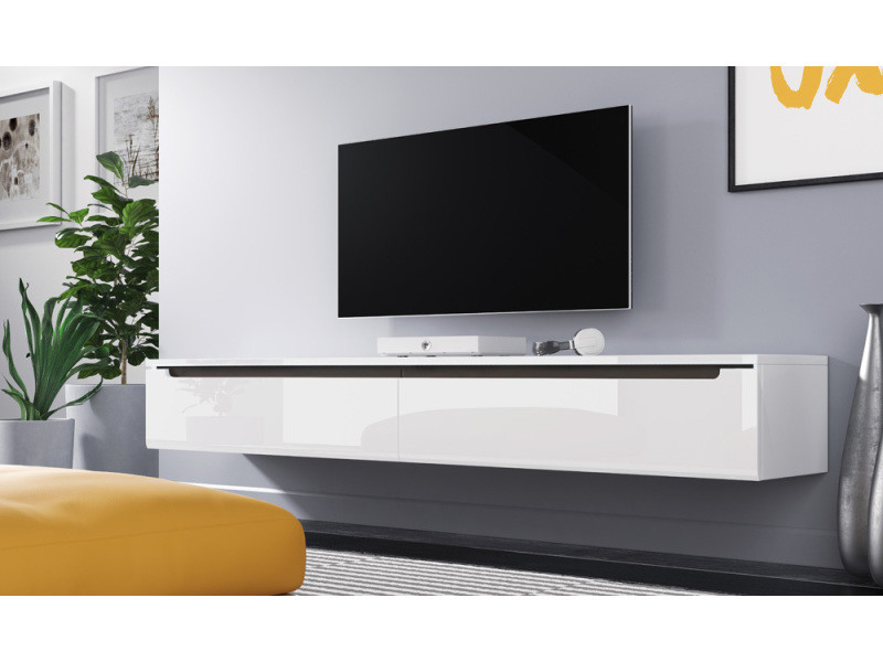 Meuble Tv Swift 180 Cm Blanc Brillant Sans Led Vente De Meuble Tv Conforama