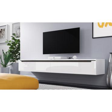 Meuble Tv Swift 180 Cm Blanc Brillant Sans Led Vente De Meuble Tv Conforama