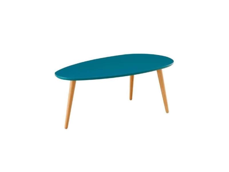 Stone table basse ovale scandinave bleu paon laqué - l 88 x l 48 cm