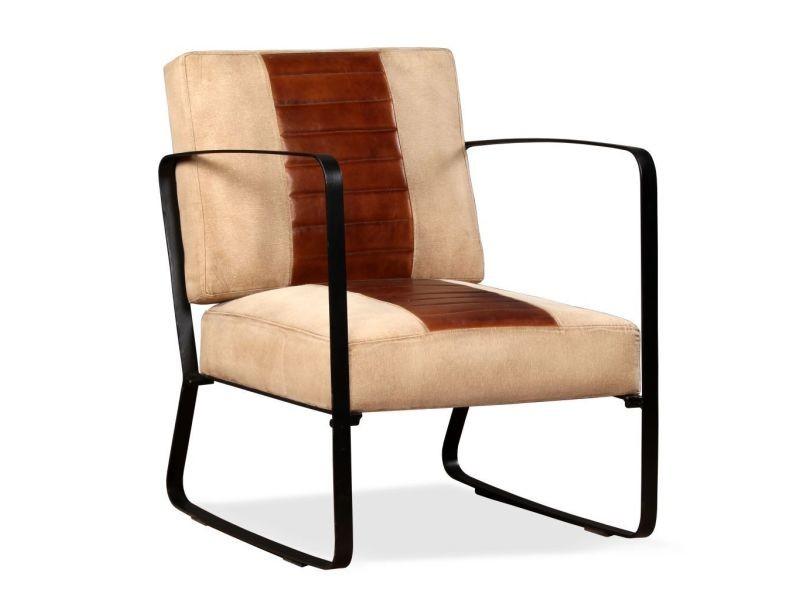 Fauteuil chaise siège lounge design club sofa salon de salon cuir véritable et toile marron helloshop26 1102321