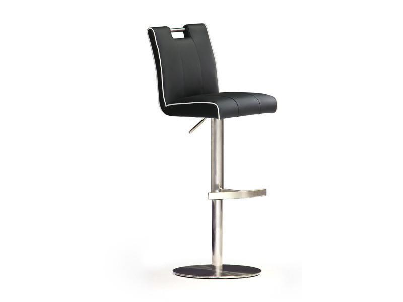 Tabouret de bar en pu socle rond en acier brossé, rotation 360° coloris noir - dim : h 87-112 x 42 x 51 cm -pegane-