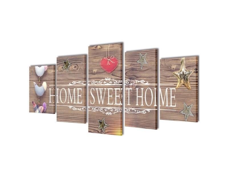 toile de d coration murale kit de 5 pi ces 200x100cm home sweet home dec02023 conforama. Black Bedroom Furniture Sets. Home Design Ideas