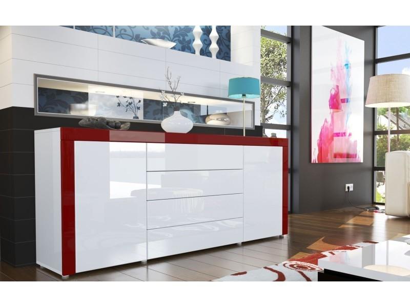 Buffet design laqué blanc / blanc/ bordeaux