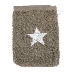 Gant de toilette 16x21 cm 100% coton 480 g/m2 stars marron