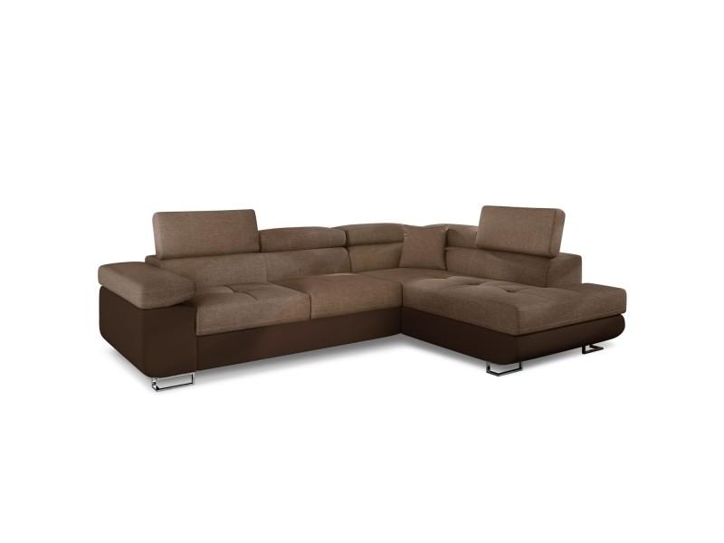 Canapé d'angle convertible antoni avec têtières relevables angle à droite simili marron et tissu marron