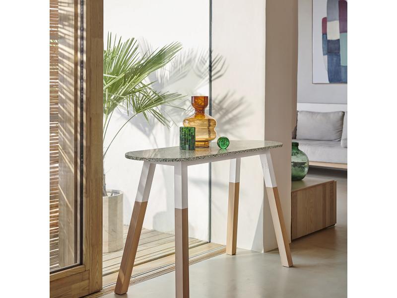 Console terrazzo et frêne massif 140 x 45 cm blanc balisson - 100% fabrication française