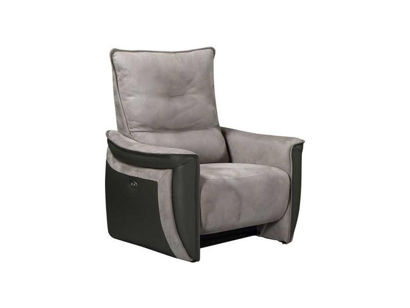 Fauteuil relax electrique cuir/tissu gris - zealand - l 94 x l 90 x h 109 - neuf