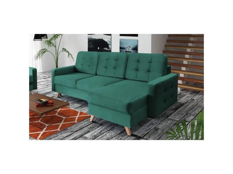 Ruby - canapé d'angle convertible en tissu vert - angle droit