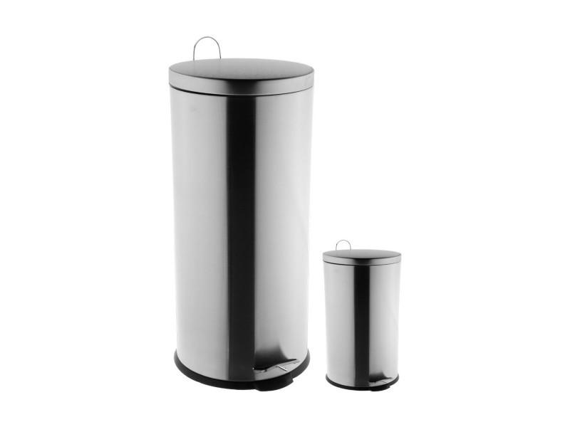 Five - lot de 2 poubelles 30l et 3l en métal ouverture à pédale