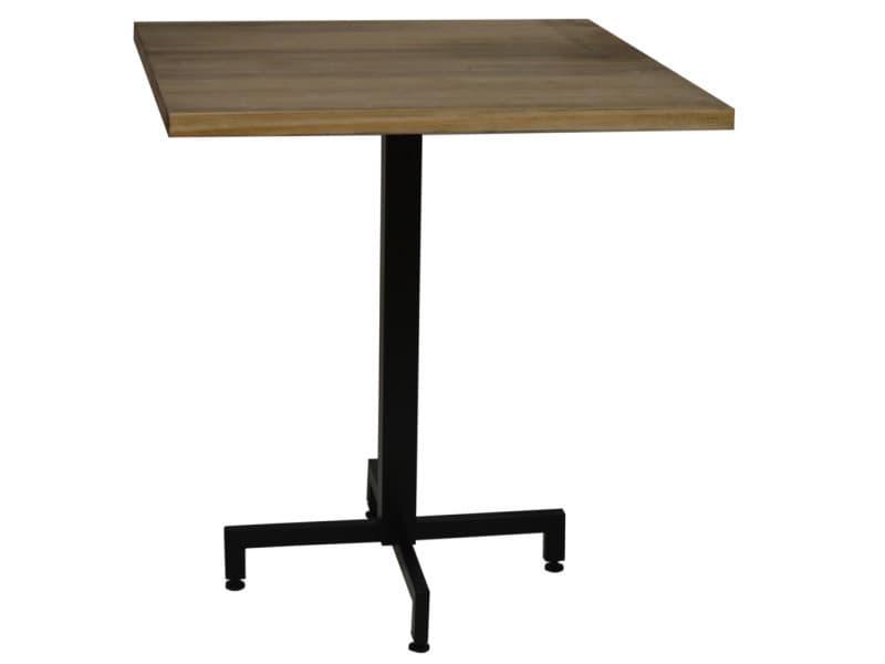 Table bistrot icub. De pied central plateau carré - industriel vintage – 60x60x75h. Cm - metal noir PC-002-70NG + TAB-PC C606030 EV