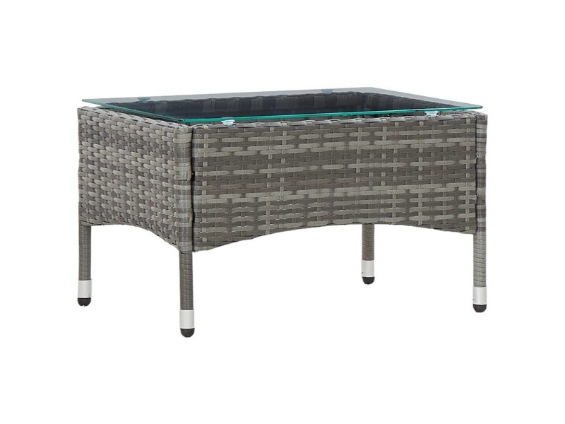 Joli mobilier de jardin categorie luanda table basse gris 60x40x36 cm résine tressée