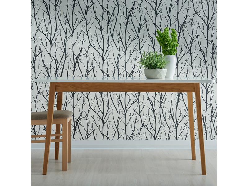Table extensible - veneer - 140-180x80 cm - blanc / bois de chêne