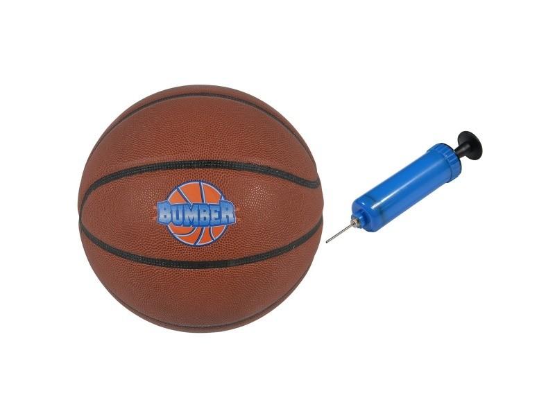 Ballon de basket brun orangé ø24,5 + pompe de gonflage