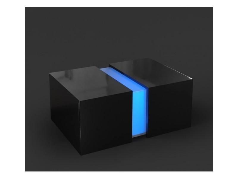Table basse noir brillant avec led