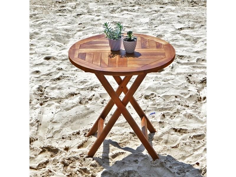Table De Jardin En Bois De Teck Ronde Pliante Vente De Salon De