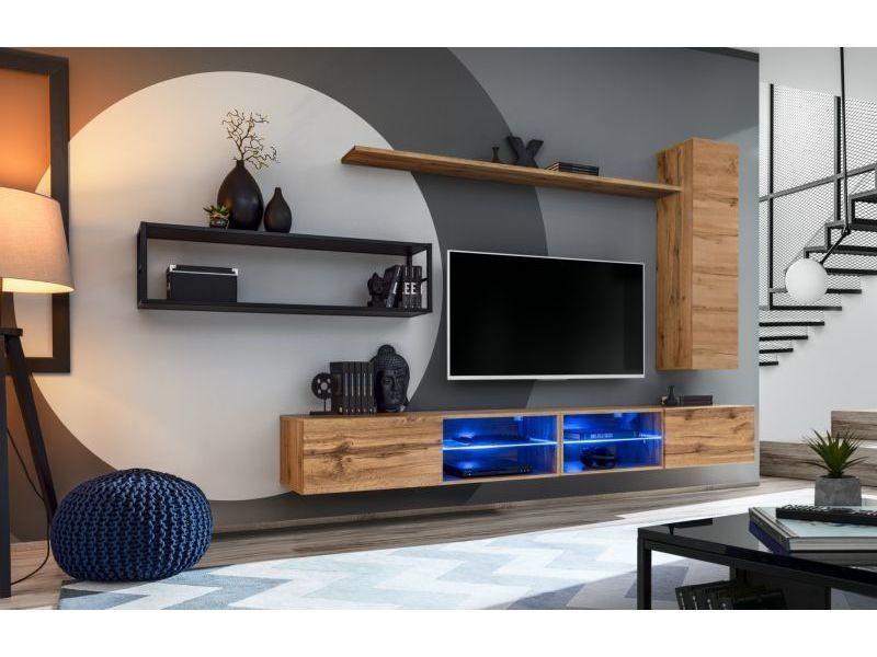 Ensemble meuble tv mural switch met iv - l 300 x p 40 x h 170 cm - marron