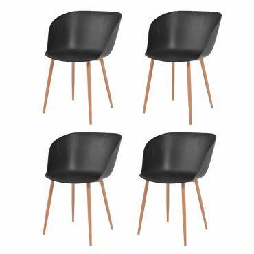 Vidaxl chaises de salle à manger 4 pcs noir plastique 244527