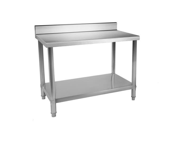 Table de travail inox professionnel cuisine avec dosseret 100 x 60 cm capacité de 114 kg helloshop26 14_0003693