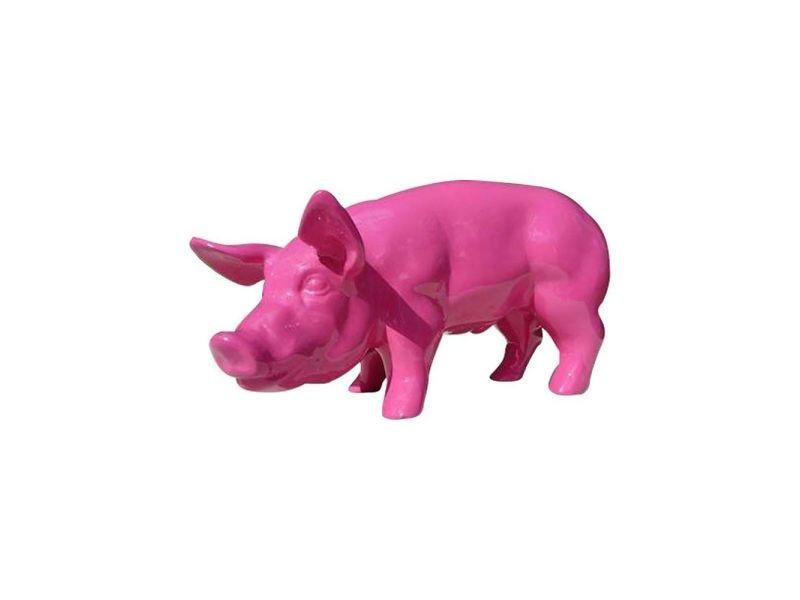 Statue de jardin cochon design rose en résine