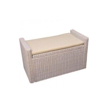 banc banquette coffre de rangement en rotin blanc ban04018 vente de tous les fauteuils. Black Bedroom Furniture Sets. Home Design Ideas
