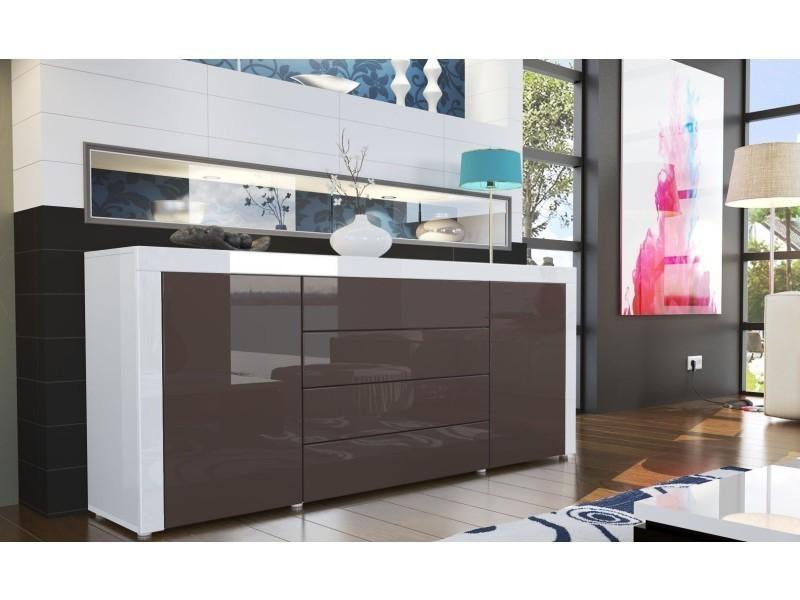 Buffet design laqué blanc / chocolat