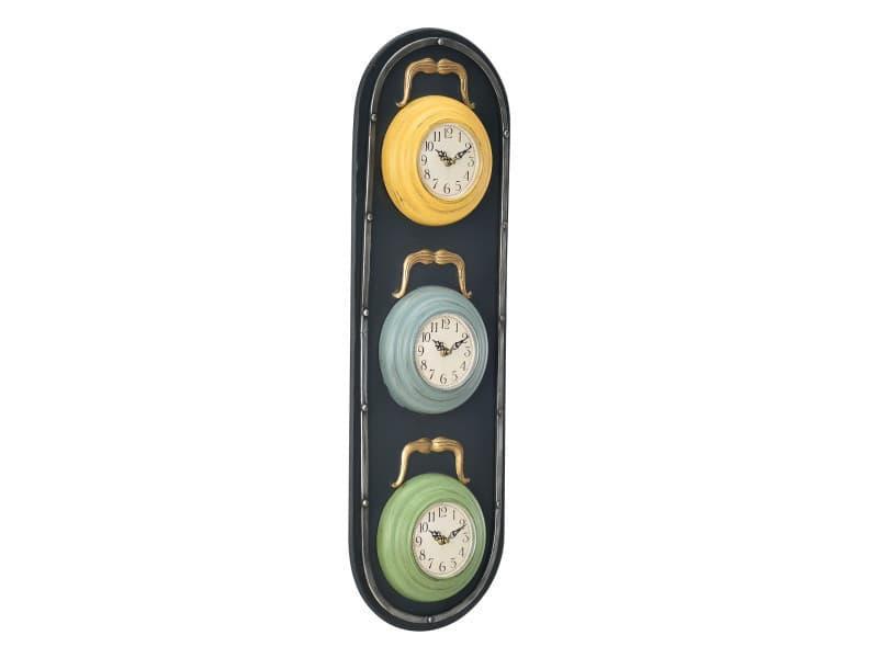 [en.casa] horloge murale feu design + affichage analogue - 25 x 4,5 x 80 cm - multicolore