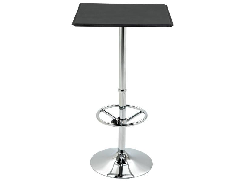 Table de bar carrée table bistro chic style contemporain repose-pied hauteur réglable dim. 62l x 62l x 110h cm métal chromé pu noir