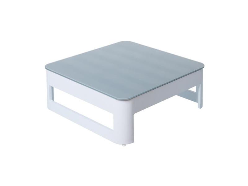 Table basse d'extérieur aluminium blanc/gris - nuku - l 76 x l 76 x h 27 - neuf