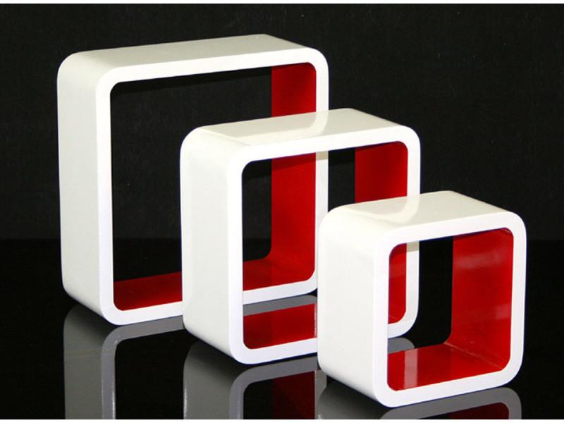 Étagères cube murale de 3 piéces coloris bordeaux et blanc -pegane-