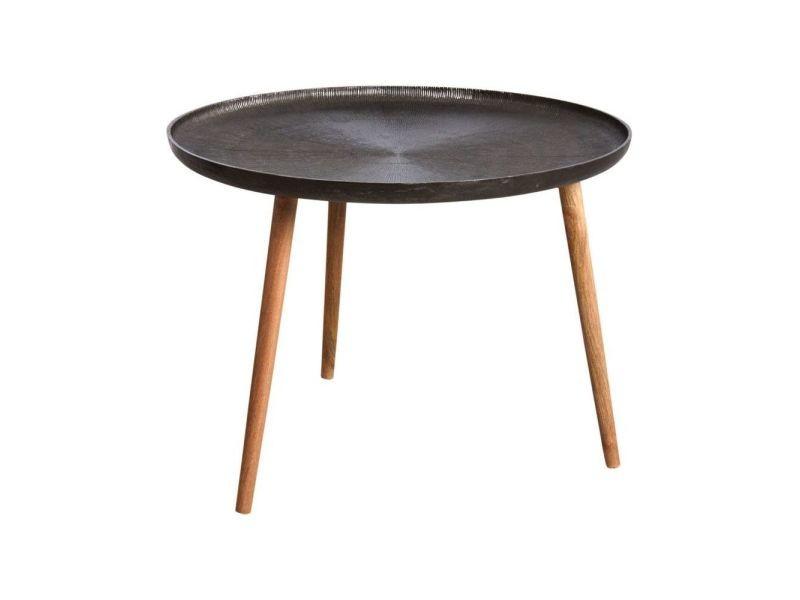 Table ronde métal zinc antique et bois