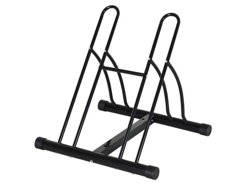 Râtelier 2 vélos modulable dim. 54l x 60l x 57h cm acier époxy noir