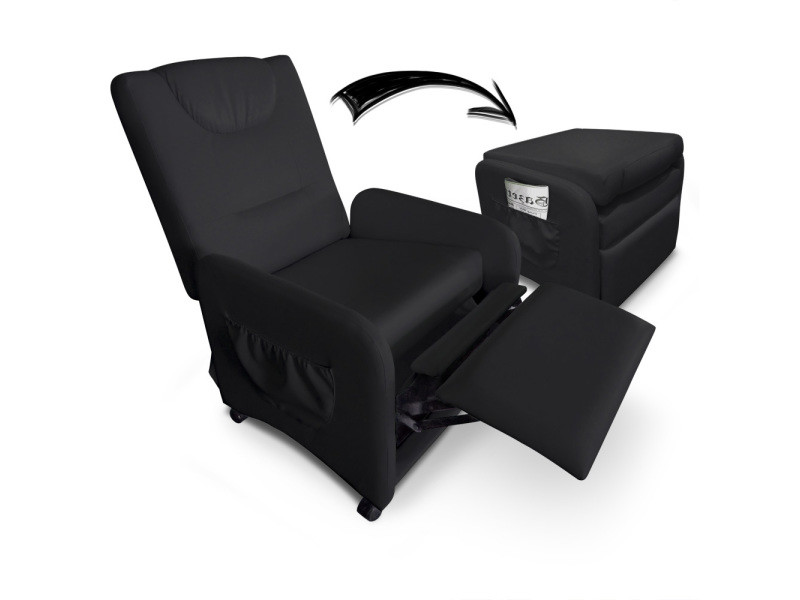 fauteuil relax pliable brio noir vente de menzzo premium conforama. Black Bedroom Furniture Sets. Home Design Ideas