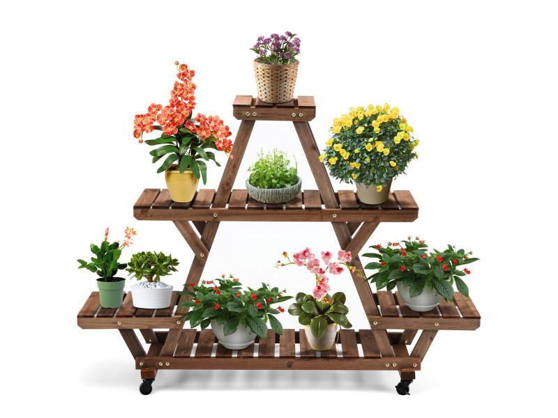 Giantex porte-plantes en bois à roulettes avec 2 freins à 4 niveaux pour 7 pots 143,6 x 28 x 104,6cm jardin maison balcon terrasse