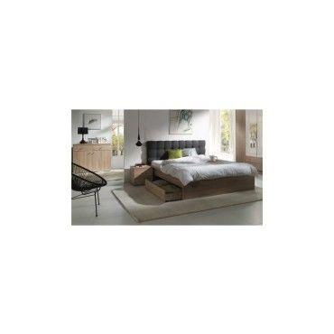 Ensemble pour chambre à coucher maxim. Lit adulte deux places 160x200 cm +  tiroir + sommier + deux chevets + commode - Vente de Lit adulte - Conforama 0ac527159a6a