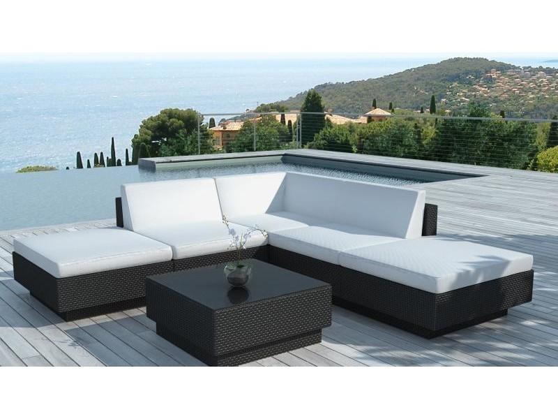 Salon de jardin d\'angle en résine noire - waimea SD9509-BLACK-WHITE ...