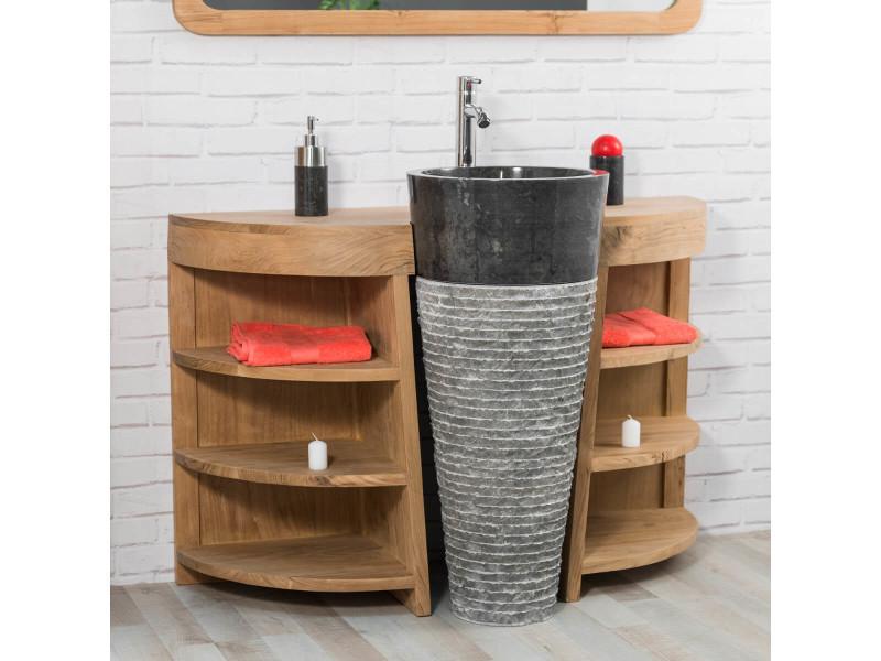 Meuble de salle de bain en teck florence 120cm vasque - Meuble vasque salle de bain conforama ...