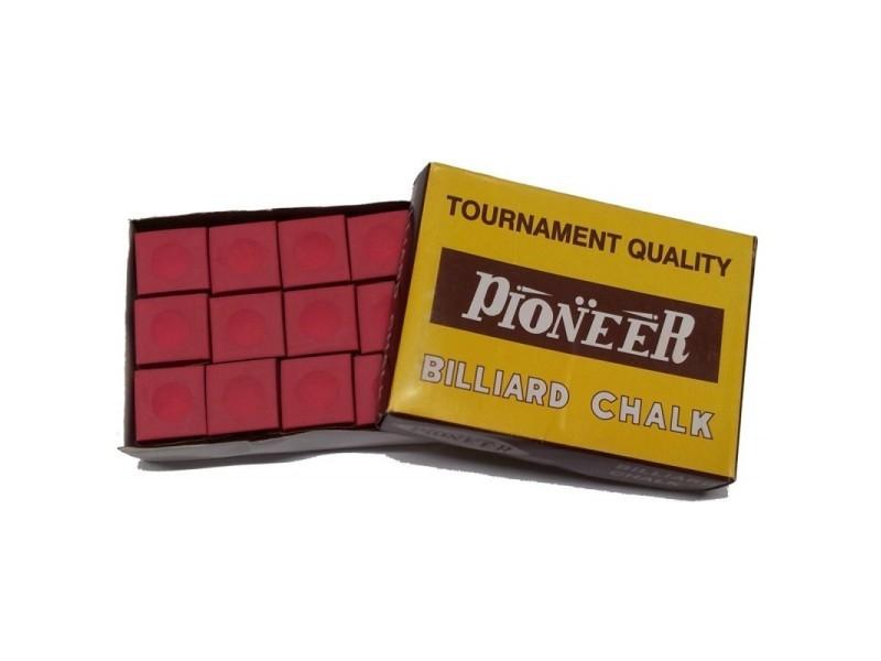 Craies billard standard - boîte de 12 craies rouge - pioneer