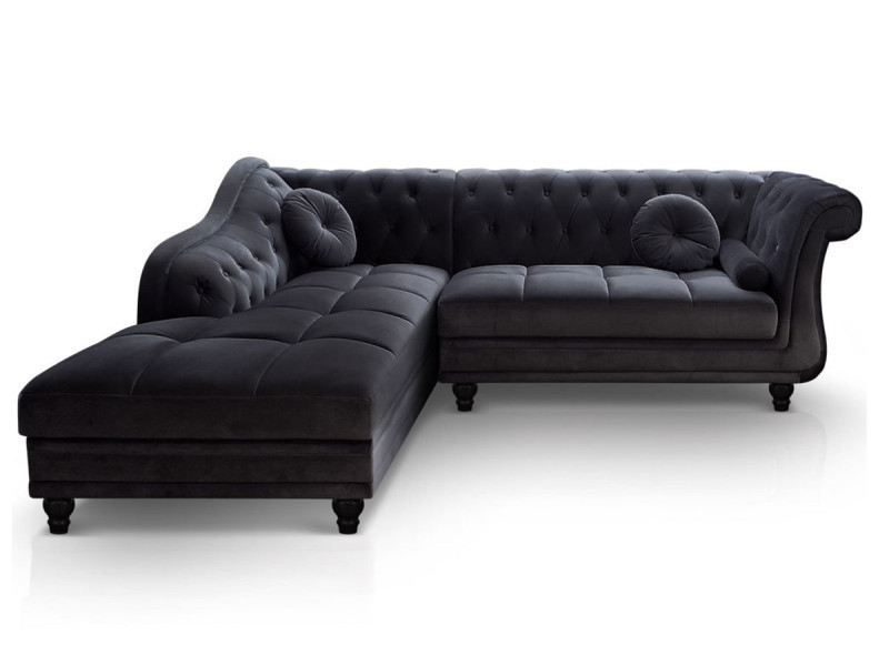 canap d 39 angle gauche chesterfield velours noir conforama. Black Bedroom Furniture Sets. Home Design Ideas